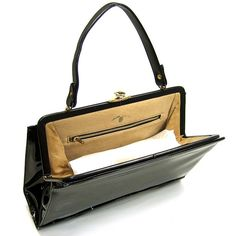 Etsy mysweetiepiepie New Unused VINTAGE 1950 s Women s Purse Chic Black Patent Leather Kelly Style NOS Handbag with Scalloped Detail and Gold Metal Clasp - Stylehive