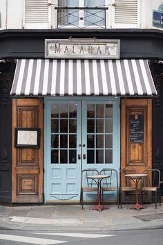 Fotografía de Cafe de Paris, Cafe Malabar, arte de la gran pared, decoración de la cocina francesa, toldo rayado, azul puerta, fotografía de viajes