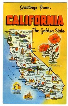 vintage state map postcards | 1972 California State Map Vintage Postcard Places and Poppy Flower ...