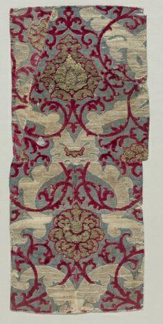 Fragment of Velvet, century Spain, century velvet (cut, voided, and brocaded); silk and silver-gilt strips.