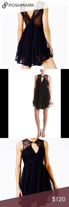 """Free People Black Lace Dress 