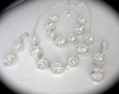 Bridal jewelry // 3 piece // Cubic Zirconia by QueenMeJewelryLLC, $174.99