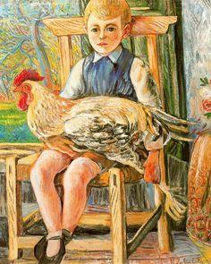 Niño sentado con un pollo entre las piernas. Rafael Zabaleta. 1943. Óleo sobre lienzo. 81 x 65 cm