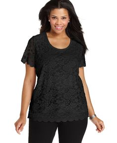 Ny Collection Plus Size Short-Sleeve Lace Top