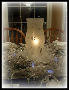 Snowflake Hurricane Shade Centerpiece by dining delight, via Flickr