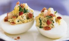 Easter Shrimp and Bacon Deviled Eggs Recipe < Easter Side Dishes - Cooking Light Healthy Deviled Eggs, Bacon Deviled Eggs, Deviled Eggs Recipe, Egg Recipes, Appetizer Recipes, Cooking Recipes, Party Appetizers, Recipies, Budget Cooking