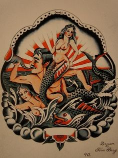 Flash by Tom Berg. Berg was a UK tattooist and his designs raised the bar. Traditional Flash, Traditional Tattoo Flash, American Traditional, Marine Tattoo, Tattoo Ideas, Tattoo Designs, Vintage Flash, American Tattoos, Mermaid Tattoos