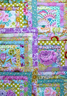 patchwork baby quilt made from Kaffe Fassett fabrics   Fabric ... : quilt search engine - Adamdwight.com