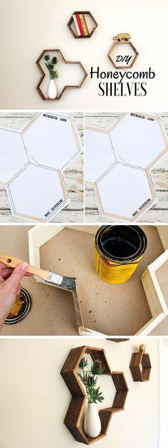 Neat idea! #DIY Honeycomb Shelves made from popsicles. #homedecorideas