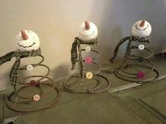 Rusty Bed Springs for Crafts Snowman Crafts, Christmas Projects, Holiday Crafts, Christmas Snowman, Rustic Christmas, Winter Christmas, Christmas Bells, Christmas Trees, Primitive Christmas Ornaments