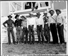 RODEO CHAMPS OF THE FORTIES - Chuck Sheppard (calf roping), Casey Tibbs (saddle bronc riding) , Sonny Tureman (bareback riding) , Gene Pruett (bronc riding), Barney Willis, George Prescott & Buck Sorrells - ca. 1945 - Photo by Lee Merrill