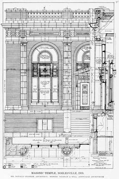 Technical details of the facade of the Masonic Temple, Noblesville