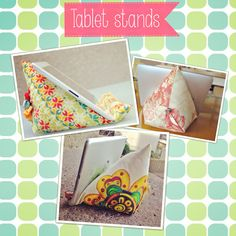 3 iPad stands or bean bags: one with patchwork, a simple one using some embellishments and the last one for an ipad MINI with hand painted fabric.