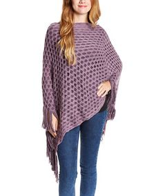 Look what I found on #zulily! Lavender Mesh Fringe Poncho by Life and Style Fashions #zulilyfinds