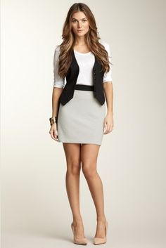 Casual shirt and vest with a pencil skirt and nude heels