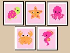 Sea Animals Nursery Art for Girls- Pink Ocean Artwork with turtle, starfish, crab, seahorse and octopus