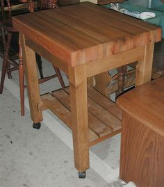 Sturdy solid oak and maple butcher block kitchen work table - made by the Amish. Maple Butcher Block, Amish Family, Block Table, Amish Furniture, Primitives, Solid Oak, Families, Shelf, Detail