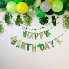 Wild One Birthday Party, Happy Birthday Baby, Happy Birthday Parties, Happy Birthday Banners, Birthday Party Themes, Birthday Diy, Dinasour Birthday, Dinosaur First Birthday, Jungle Party Decorations