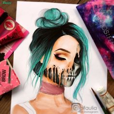 Beautiful drawing by on ig Pencil Art Drawings, Cool Drawings, Drawing Sketches, Sketching, Color Pencil Sketch, Cartoon Tattoos, Purple Art, Sharpie Art, Animal Facts