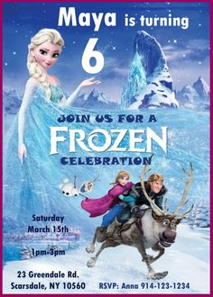 Frozen Birthday Party Invitations Personalized Printable Digital File