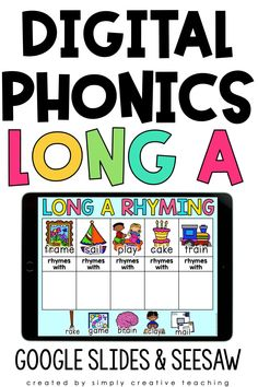 If you are teaching Long Vowel A to your 1st and 2nd grade students? Then check out this DIGITAL Long Vowel A (ai, ay, and a_e) phonics word work unit! Available for use with Google Slides, Google Classroom, and Seesaw. Students will love the variety of fun activities including word sorts, long spelling, sentences, rhyming, and more! These distance learning Long A Vowel Digital Phonics activities are completely paperless. Shop now and add to your lesson plans today!