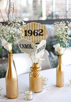 Love the simple metallic gold centerpieces with those vintage themed signs #wedding #gold #gatsby #centerpiece #vintage