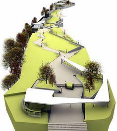 "Laikacota Metropolitan Park Design Concept, view from the north entrance and the ""cloud"" element"