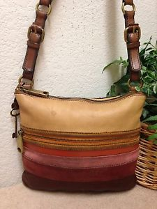 9438a4dd7cee Fossil Live Long Vintage Mult Color Distressed Leather Crossbody Bag  Striped Key