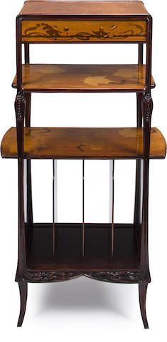 A Majorelle carved mahogany and fruitwood marquetry-inlaid music stand circa 1900
