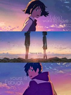 Your Name / Kimi no na wa Kimi No Na Wa, Sad Anime Quotes, Manga Quotes, Your Name Quotes, Manga Anime, Sailor Moon, Your Name Anime, Otaku, A Silent Voice