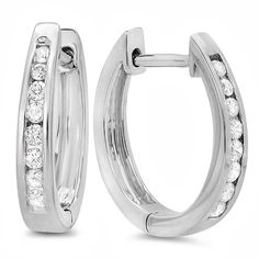 10K White Gold 1/5ct TDW Round Channel Set Diamond Hoop Earrings (I-J, I2-I3) - Overstock™ Shopping - Top Rated Diamond Earrings
