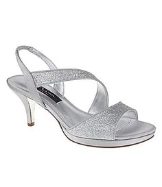 Nina Newark Dress Sandals #Dillards- silver 2 inch kitten heels- want these shoes to go with Mimosa Wedding gown.