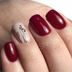 Cute Nail Art Designs For Short Nails 2019 45 Maroon Nails, Burgundy Nails, Red Nails, Hair And Nails, Burgundy Nail Designs, Cute Nails, Pretty Nails, Cute Nail Art Designs, Easter Nails