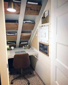 Home Office Closet, Tiny Office, Small Space Office, Office Nook, Home Office Space, Home Office Design, Home Office Decor, Home Design, Office Ideas