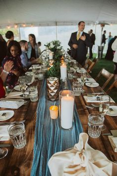 Dusty blue cheesecloth table runner. Northern Michigan couple features hues of Lake Michigan throughout their wedding Northern Michigan, Lake Michigan, Wedding Dreams, Dream Wedding, Cheesecloth, Wedding Decorations, Table Decorations, Dusty Blue, Table Runners