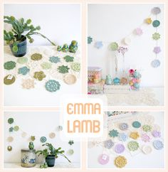 Custom colourways of my Forever Flower Garlands : cool greens and pretty pastels