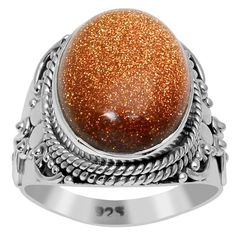 Orchid Jewelry 925 Sterling Silver 8 1/2 Carat Sunstone Ring (925 Silver-Sunstone-Size 7), Women's, Yellow