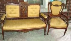 Antique walnut, carved, love seat and chair
