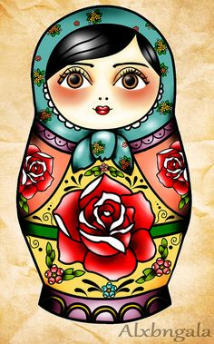 Matryoshka Russian doll old school tattoo art flash Red Rose