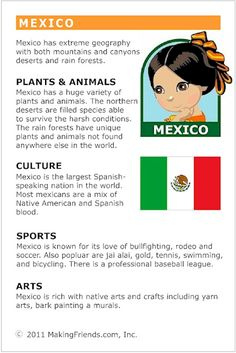 MakingFriends Facts about Mexico Printable Thinking Day fact card for our passports. Perfect if you chose Mexico for your Girl Scout Thinking Day or International Night celebration.