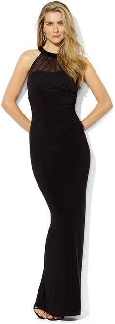Lauren Ralph Lauren Sleeveless Mesh Beaded Gown