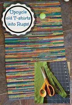 Don't throw away those old T-shirts! #Upcycle them into yarn and #weave them into a colorful rug with this free #weaving project!