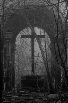 What I could only imagine use to be a place of worship. Place of Worship Cemetery Headstones, Old Cemeteries, Cemetery Art, Graveyards, Terra Nova, Spooky Places, Dark Photography, Dark Places, Place Of Worship