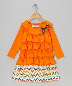 Orange Zigzag Ruffle Dress - Toddler & Girls | Daily deals for moms, babies and kids
