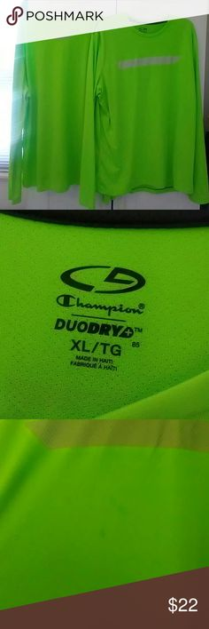 Two DUODRY champion shirts florescent green Two identical champion shirts in florescent green with mesh material on back.  Long sleeve in dry fit material.  One with faint stain on front (see photo)  perfect for fishing, boating, or work shirts. Champion Shirts Tees - Short Sleeve