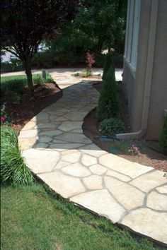 8 Natural Stone Pathways to Inspire Your Yard: Narrow, Mortared Stone Pathway