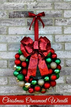 32 christmas wreath ideas how to make a christmas wreath mommys kitchen country cooking family friendly recipes diy christmas ornament wreath holiday decorating solutioingenieria Choice Image
