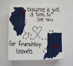 Best Friend Canvas Friendship Long By GretasHandmadeGifts
