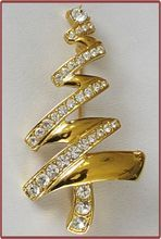 Monet Modernistic Rhinestone Christmas Tree Pin