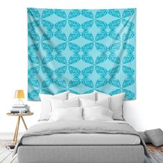 Artistic Wall Tapestry | Julia Grifol - Leaves Blue #tapestry #wallart #blue #pattern #botanic #leaves #dianochedesigns #juliagrifol